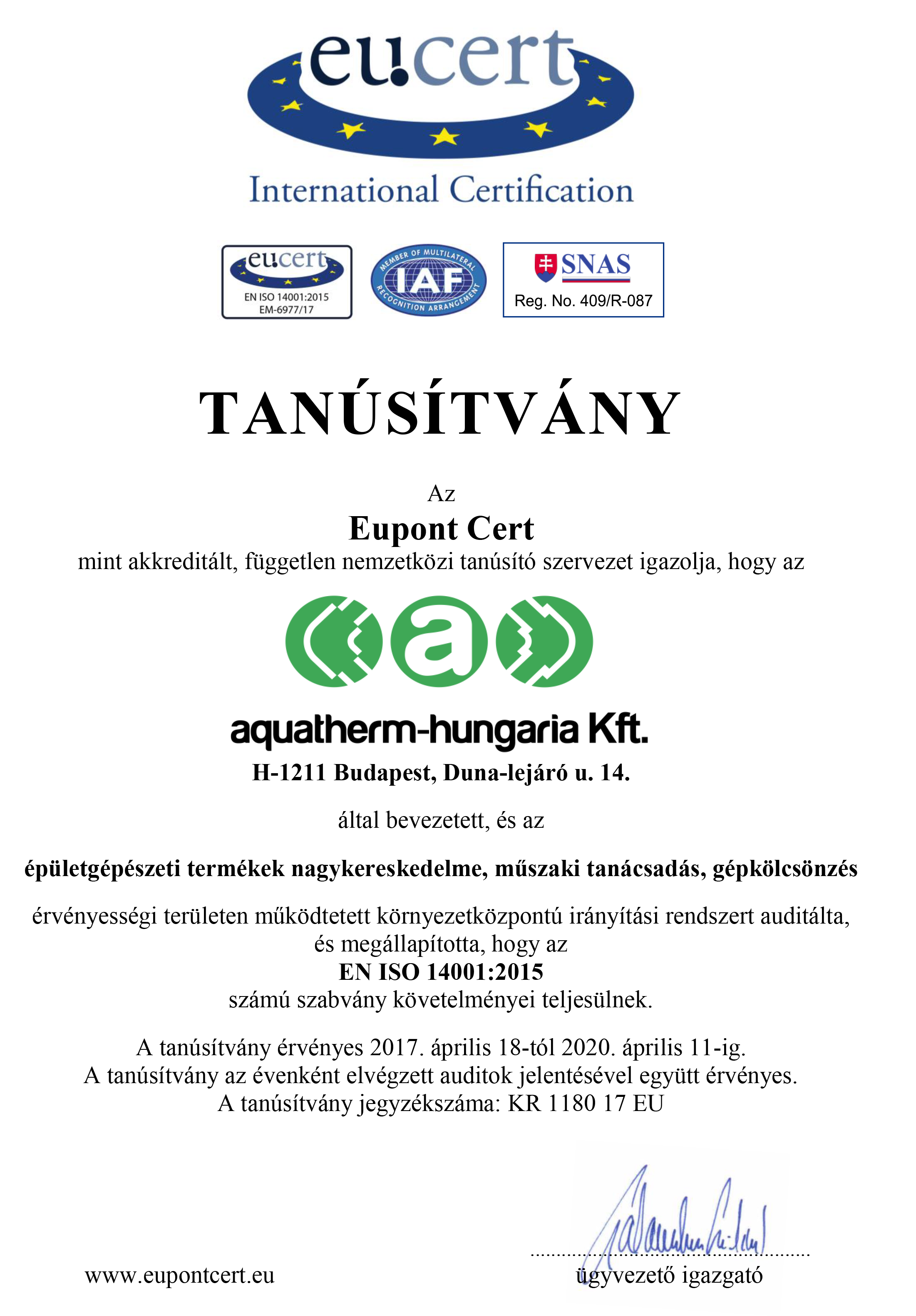 AQUATHERM-HUNGARIA Kft._TA - Tanúsítvány KIR magyar
